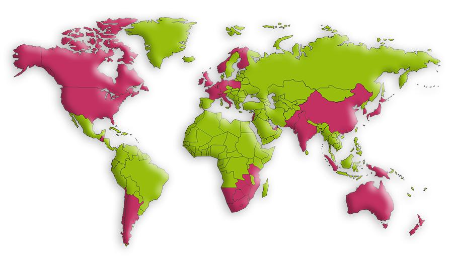 ZWAANZ | World Map - Regions We Have Serviced